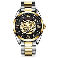 お買い得  -Tevise 男性用 機械式時計 日本産 自動巻き 30 m 耐水 透かし加工 夜光計 ステンレス バンド ハンズ ぜいたく ファッション ブラック / シルバー - 黒とゴールド ゴールド
