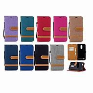 お買い得  携帯電話ケース-ケース 用途 LG K10 2018 / G7 ウォレット / カードホルダー / スタンド付き フルボディーケース ソリッド ハード 繊維 のために LG K10 2018 / LG K10(2017) / LG K10