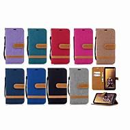 Недорогие Чехлы и кейсы для Galaxy A5(2016)-Кейс для Назначение SSamsung Galaxy A8 Plus 2018 / A6 (2018) Кошелек / Бумажник для карт / со стендом Чехол Однотонный Твердый текстильный для A6 (2018) / A6+ (2018) / A3 (2017)