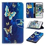 Недорогие Кейсы для iPhone 8 Plus-Кейс для Назначение Apple iPhone 8 Plus / iPhone 7 Plus со стендом / С узором / Магнитный Чехол Бабочка Твердый Кожа PU для iPhone 8 Pluss / iPhone 7 Plus