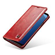 Недорогие Чехлы и кейсы для Galaxy S6 Edge Plus-Кейс для Назначение SSamsung Galaxy S9 Plus / S9 Бумажник для карт / Флип Чехол Однотонный Твердый Кожа PU для S9 / S9 Plus / S8 Plus