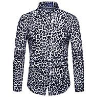 Spredt krave Tynd Herre - Leopard / Dyr Trykt mønster Natklub Skjorte Hvid XL / Langærmet / Forår / Efterår