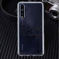 お買い得  携帯電話ケース-ケース 用途 Huawei P20 / P20 Pro 超薄型 / クリア / パターン バックカバー ワード/文章 ソフト TPU のために Huawei P20 / Huawei P20 Pro / Huawei P20 lite