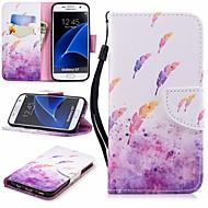 Недорогие Чехлы и кейсы для Galaxy S7-Кейс для Назначение SSamsung Galaxy S7 Кошелек / Бумажник для карт / со стендом Чехол  Перья Твердый Кожа PU для S7