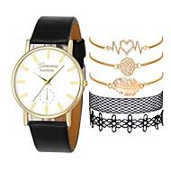 cheap -Women's Dress Watch Quartz Chronograph Creative New Design Leather Band Analog Fashion Elegant Black / White / Brown - Black Brown Black / White One Year Battery Life