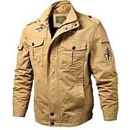 Herrn Alltag Grundlegend Herbst Winter Standard Jacke, Solide Ständer Langarm Polyester Schwarz / Armeegrün / Khaki XXXL / 4XL / XXXXXL