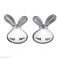 cheap -Women's 3D Stud Earrings - Rabbit Simple Silver For Daily