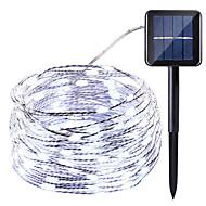 お買い得  -HKV 10m ストリングライト 100 LED 温白色 / クールホワイト / レッド 防水 / ソーラー駆動 / パーティー ソーラー駆動 1セット