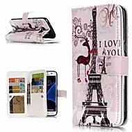 Недорогие Чехлы и кейсы для Galaxy S8-Кейс для Назначение SSamsung Galaxy S9 Plus / S8 Кошелек / Бумажник для карт / со стендом Чехол Эйфелева башня Твердый Кожа PU для S9 / S9 Plus / S8 Plus
