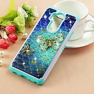 preiswerte Handyhüllen-Hülle Für LG LG Stylo 4 / LG Q7 Strass / Muster Rückseite Schmetterling Hart PU-Leder für LG Q Stylus / LG Stylo 4 / LG Q7