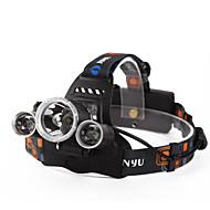 preiswerte Taschenlampen, Laternen & Lichter-Stirnlampen Fahrradlicht LED Cree XM-L T6 4800 lm 4.0 Beleuchtungsmodus inklusive Batterien und Ladegerät Wasserfest, Wiederaufladbar, Nachtsicht Camping / Wandern / Erkundungen, Für den täglichen