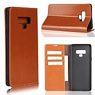 Недорогие Чехлы и кейсы для Galaxy Note-Кейс для Назначение SSamsung Galaxy Note 9 / Note 8 Бумажник для карт / со стендом Чехол Однотонный Твердый Настоящая кожа для Note 9 / Note 8 / Note 5