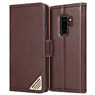 Недорогие Чехлы и кейсы для Galaxy S-BENTOBEN Кейс для Назначение SSamsung Galaxy S9 Plus Защита от удара / со стендом / Флип Чехол Однотонный Твердый Настоящая кожа / ПК для S9 Plus