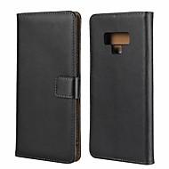 Недорогие Чехлы и кейсы для Galaxy Note-Кейс для Назначение SSamsung Galaxy Note 9 Кошелек / Бумажник для карт / Защита от удара Чехол Однотонный Твердый Настоящая кожа для Note 9