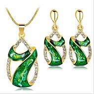 Pentru femei Verde Sintetic Aquamarine Retro Set bijuterii Leaf Shape femei, Vintage Include Vintage Colier Rosu / Verde / Albastru Pentru Petrecere Zilnic / Σκουλαρίκια