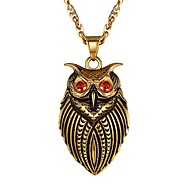 cheap -Men's Red AAA Cubic Zirconia Cameo Pendant Necklace Stainless Steel Owl Fashion Cute Gold Silver 55 cm Necklace Jewelry 1pc For Gift Daily