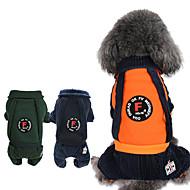 Chiens / Chats Combinaison-pantalon Vêtements pour Chien Rayure Orange / Bleu de minuit / Vert foncé Coton Costume Pour les animaux domestiques Unisexe British