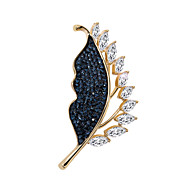 Women's AAA Cubic Zirconia Retro Brooches Silver Plated Gold Plated Austria Crystal Leaf Ladies Stylish Korean Brooch Jewelry Gold Silver For Street