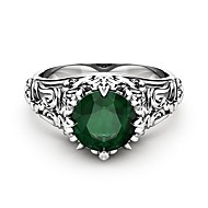 cheap -Women's Green Cubic Zirconia Hollow Out Simulated Ring - Copper, Platinum Plated, Imitation Diamond Petal Ladies, Trendy, Romantic, Fashion Jewelry Silver For Gift Evening Party 6 / 7 / 8 / 9 / 10
