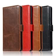 Недорогие Чехлы и кейсы для Galaxy Note 8-Кейс для Назначение SSamsung Galaxy Note 9 / Note 8 Кошелек / Бумажник для карт / со стендом Чехол Однотонный Твердый Настоящая кожа для Note 9 / Note 8 / Note 5