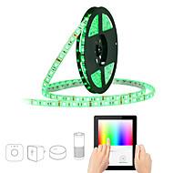 abordables Tiras de Luces LED-JIAWEN 5 m Tiras LED Flexibles / Sets de Luces / Luces inteligentes 300 LED SMD5050 1 cable de CA / 1 adaptador de 12V 2A RGB Impermeable / Control APP / Cortable 100-240 V 1 juego