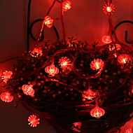 cheap -5m String Lights 50 LEDs Red Decorative AA Batteries Powered 1 set