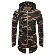 cheap -Men's Daily / Going out Basic / Street chic Spring &  Fall / Fall & Winter Long Overcoat, Camouflage Hooded Long Sleeve Polyester Red / Gray / Army Green L / XL / XXL