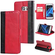 Недорогие Чехлы и кейсы для Galaxy S-Кейс для Назначение SSamsung Galaxy S7 edge Кошелек / Бумажник для карт / Флип Кейс на заднюю панель Однотонный Твердый Кожа PU для S7 edge