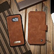 Недорогие Чехлы и кейсы для Galaxy S7 Edge-CaseMe Кейс для Назначение SSamsung Galaxy S7 edge Бумажник для карт / со стендом / Флип Чехол Однотонный Твердый Кожа PU для S7 edge