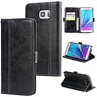 Недорогие Чехлы и кейсы для Galaxy Note-Кейс для Назначение SSamsung Galaxy Note 5 Кошелек / Бумажник для карт / Флип Кейс на заднюю панель Однотонный Твердый Кожа PU для Note 5