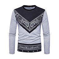 cheap -Men's Street chic T-shirt - Graphic Round Neck / Long Sleeve