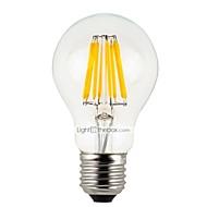 abordables Lámparas LED de Filamentos-6pcs 4 W 300 lm E26 / E27 Bombillas de Filamento LED A60(A19) 4 Cuentas LED LED de Alta Potencia Regulable Blanco Cálido