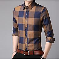 cheap -men's work asian size cotton slim shirt - color block shirt collar