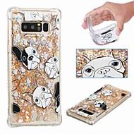 Недорогие Чехлы и кейсы для Galaxy Note 8-Кейс для Назначение SSamsung Galaxy Note 9 / Note 8 Защита от удара / Движущаяся жидкость / Прозрачный Кейс на заднюю панель С собакой / Сияние и блеск Мягкий ТПУ для Note 9 / Note 8