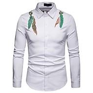 cheap -Men's Basic Shirt - Floral / Color Block Print