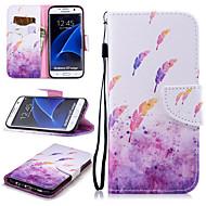 Недорогие Чехлы и кейсы для Galaxy S7 Edge-Кейс для Назначение SSamsung Galaxy S7 edge Кошелек / Бумажник для карт / Защита от удара Чехол Перья Твердый Кожа PU для S7 edge