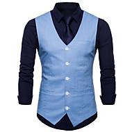 cheap -Men's Work Business Spring / Fall Plus Size Regular Vest, Solid Colored V Neck Sleeveless Polyester Yellow / Wine / Light Blue XXL / XXXL / XXXXL / Slim