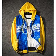 cheap -Men's Basic Hoodie - Solid Colored / Geometric Blue L
