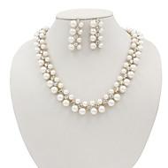Dámské Bílá Perla Klasika Šperky Set Napodobenina perel, Štras Jednoduchý, Evropský, Elegantní Zahrnout Náhrdelník Náušnice Svatební šperky Soupravy Bílá Pro Denní Zásnuby Štando Koktejlový večírek