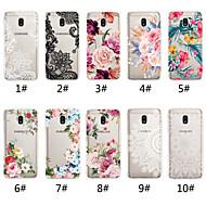 Etui Käyttötarkoitus Samsung Galaxy J7 (2017) / J5 (2017) Läpinäkyvä / Kuvio Takakuori Lace Printing / Kukka Pehmeä TPU varten J7 (2017) / J6 (2018) / J6 Plus