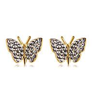 levne -Dámské Průsvitné Kubický zirkon Klasika Peckové náušnice - Pozlacené Umělé diamanty Motýl stylové Moderní Šperky Zlatá Pro Denní Formální 1 Pair