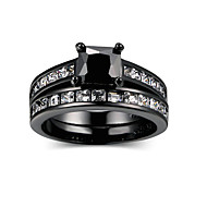 cheap -Women's Black AAA Cubic Zirconia Geometrical Ring Set - Lucky Fashion, Hip-Hop Jewelry Black For Wedding Engagement Gift 5 / 6 / 7 / 8 / 9