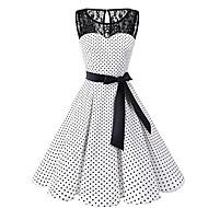 cheap -Women's Plus Size Daily 1950s A Line Dress - Polka Dot Lace White Black XXXL XXXXL XXXXXL / Sexy