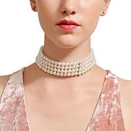 저렴한 -여성용 사파이어 진주 목걸이 - 모조 진주 스테이트먼트 실버 28 cm 목걸이 보석류 1 개 제품 결혼식, 생일, 이브닝 파티, 홀리데이, 바