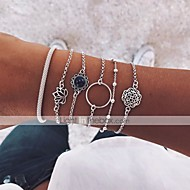 cheap -6pcs Women's Layered Retro Chain Bracelet Bracelet Bangles Pendant Bracelet - Resin Moon, Lotus, Flower Shape Vintage, Boho Bracelet Jewelry Silver For Party Daily Street