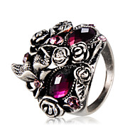 cheap -Men's Women's Fuchsia Crystal Vintage Style Statement Ring Ring Knuckle Ring - Silver Plated, Imitation Diamond Flower Hip-Hop, Oversized, Hippie Jewelry Gray For Carnival Street Club 7 / 8 / 9