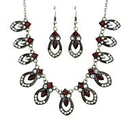 levne -Dámské Červená Retro styl Šperky Set - Módní Zahrnout Visací náušnice Charm náhrdelník Červená Pro Obřad Rande
