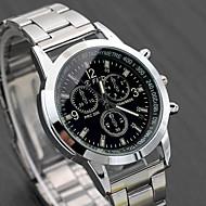 Herrn Uhr Kleideruhr Quartz Edelstahl Silber Armbanduhren für den Alltag Analog Modisch Uhr mit Wörtern Weiß Schwarz / Ein Jahr