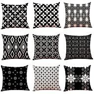 cheap -9 pcs Linen Pillow Cover, Simple Geometric Pattern Classic New Arrival European Style