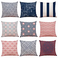 cheap -9 pcs Linen Pillow Cover, Art Deco Simple Geometric Pattern New Arrival European Style